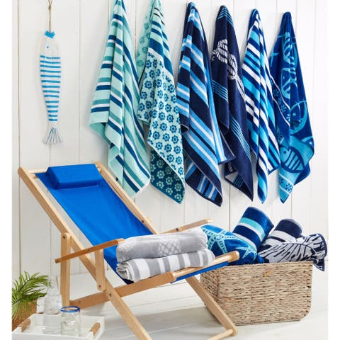 2 Pack 100% Cotton Jacquard Plush Nautical Beach Towel