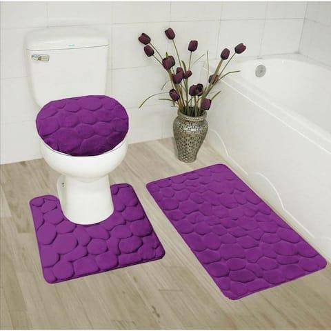 3 Piece Memory Foam Bathroom Mat Set Purple