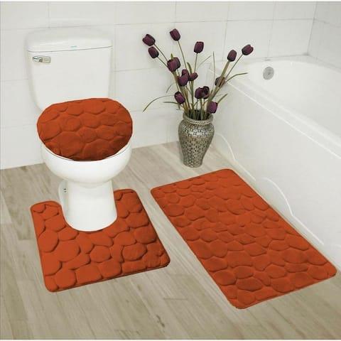 3 Piece Memory Foam Bathroom Mat Set Rust