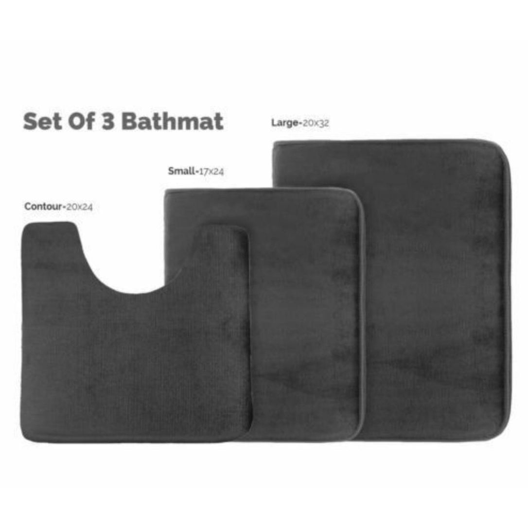 3 Piece Memory Foam Bath Mat Set Black