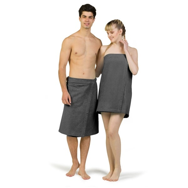 Authentic Turkish Cotton Terry Grey Spa and Shower Towel Wrap