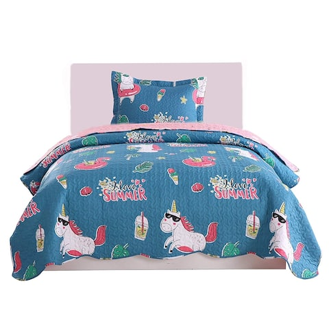 Porch & Den Dewberry Unicorn Quilt Set