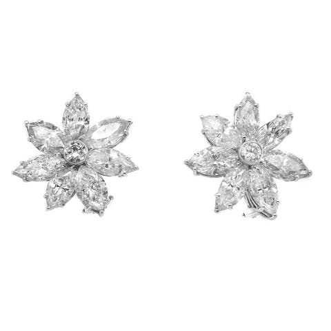 Platinum 18ct TDW Diamond Vintage Cluster Earrings (J-K,SI1-SI2)