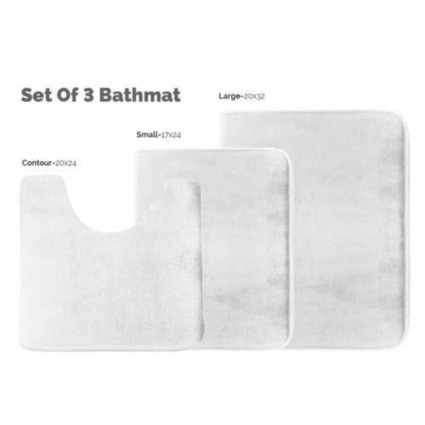 Shop 3 Piece Memory Foam Bath Mat Set White   On Sale   Overstock