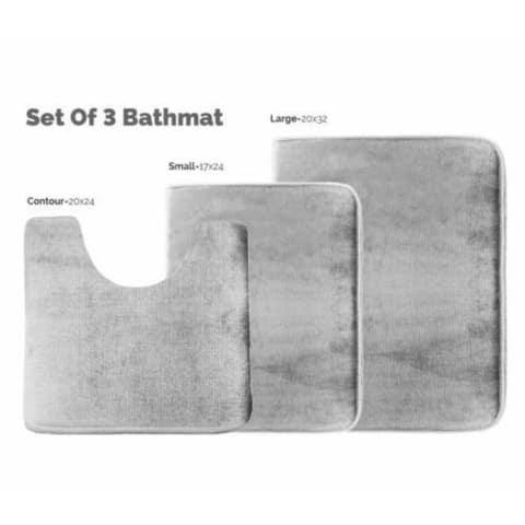 3 Piece Memory Foam Bath Mat Set Silver