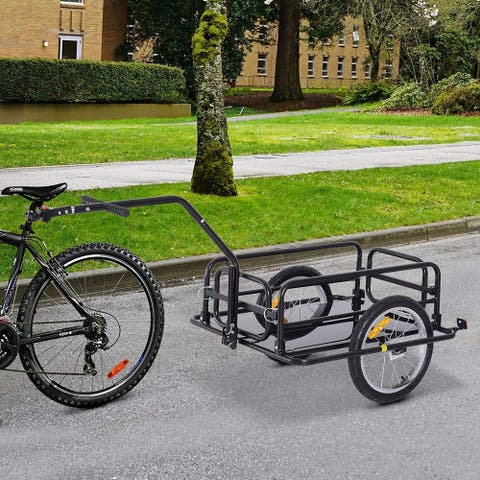 Aosom Folding Bike Cargo Trailer Cart with Seat Post Hitch