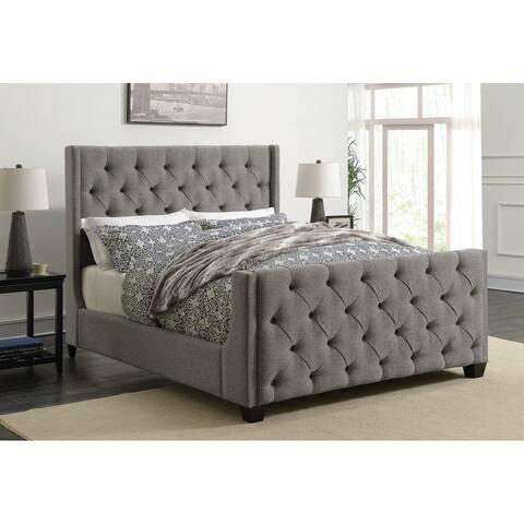 Modern Sleigh Desig Button Tufted Wing Design Grey Upholstered Bed