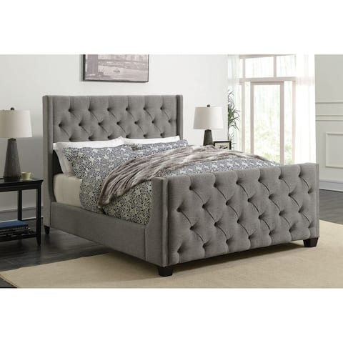 Modern Sleigh Desig Button Tufted Wing Design Grey Upholstered Bed