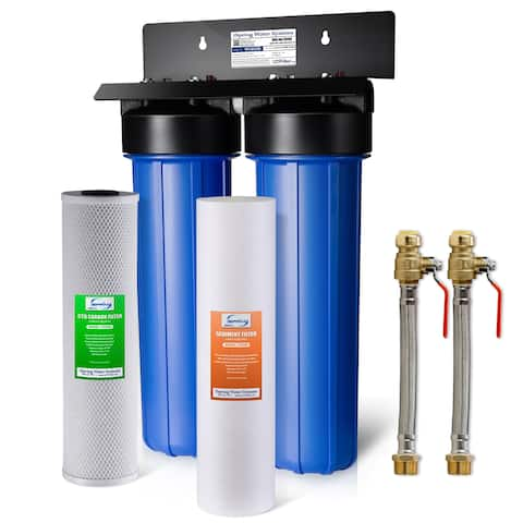 iSpring WGB22B 2-stage NPT Carbon 20-inch Big Blue Whole House Water Filter System w/ Push-Fit Stainless Steel Hose Connectors