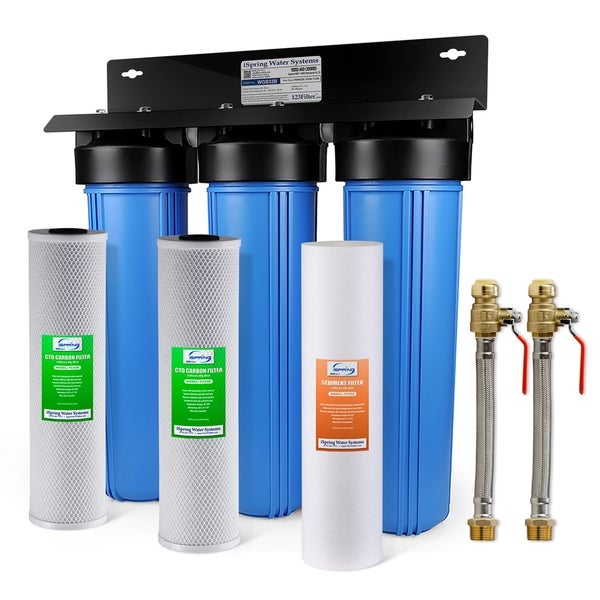 iSpring WGB32B 3-Stage 20 inch Big Blue Whole House Water Filter System w/ Push-Fit Stainless Steel Hose Connectors & Ball Valve