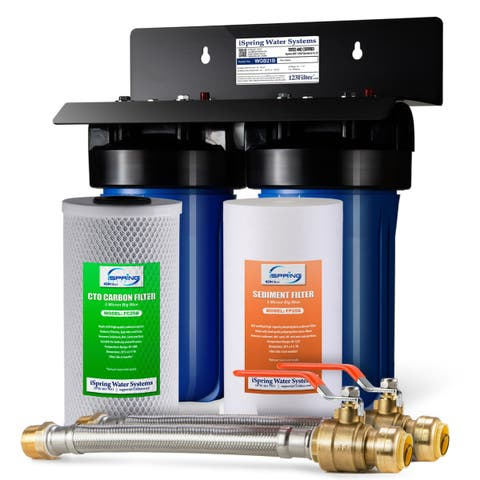 iSpring WGB21B 2-Stage Whole House Big Blue Water Filtration System w/ Push-Fit Stainless Steel Hose Connectors and Ball Valve