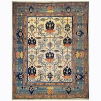 Handmade Herat Oriental Persian Hand-knotted 1960s Semi-antique Mahal Wool Rug (9'9 x 12'5) - 9'9 x 12'5
