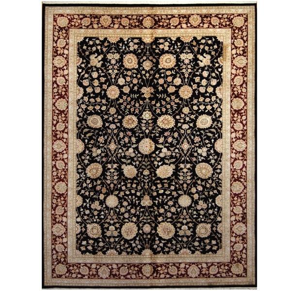 Handmade One-of-a-Kind Kashan Wool and Silk Rug (India) - 9' x 12'