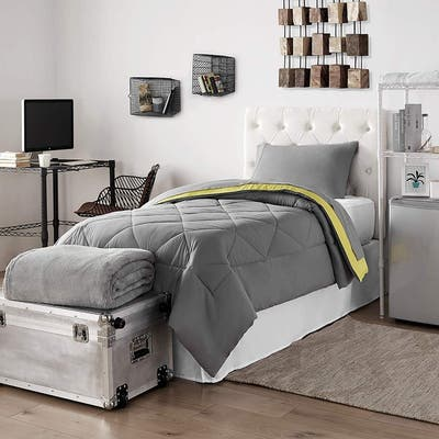 Porch & Den Hataya Limelight Yellow/Alloy Grey Twin XL Dorm Bedding and Trunk Set