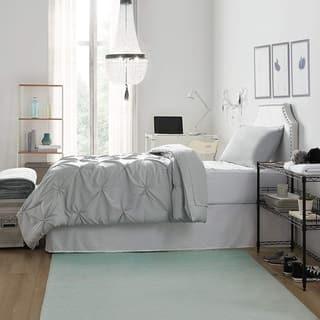 Dorm in a Trunk Pack - Twin XL - Pin Tuck Glacier Gray Color Set