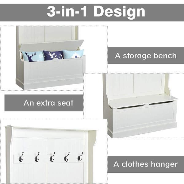 Brilliant Shop Homcom Hall Tree With Storage Bench And Coat Rack Pabps2019 Chair Design Images Pabps2019Com