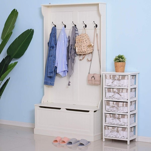HOMCOM Hall Tree with Storage Bench and Coat Rack - 37.75*13.5*71. Opens flyout.
