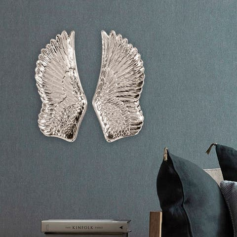 Silver Orchid Silver Wing Wall Art Set
