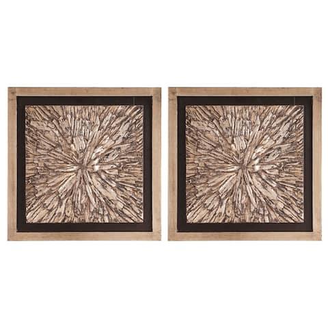 Bark Textured Wall Art Set