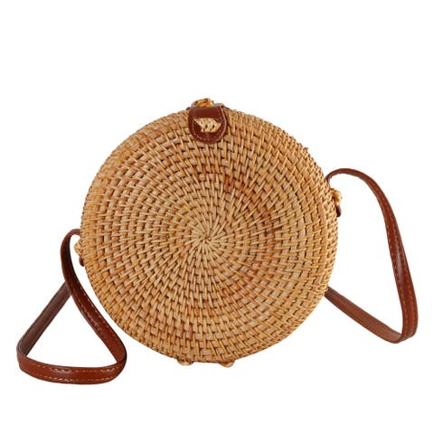 Diophy Handwoven Nature Round Rattan Corss Body Bag