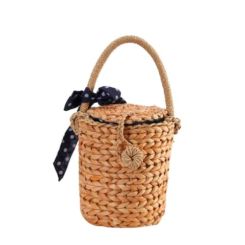 Diophy Handwoven Nature Straw Bucket Bag with Polka Dot Bowknot