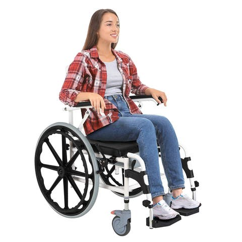 HOMCOM Rolling Shower Commode Wheelchair - N/A - N/A