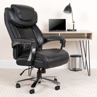 Executive Big And Tall Black Leather Swivel Office Chair With Adjustable Headrest