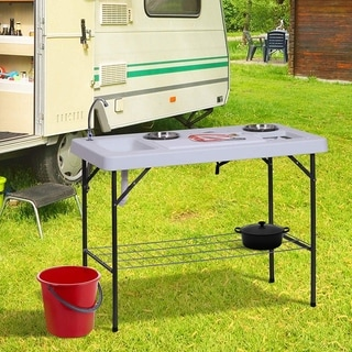 Outsunny Folding Fish Cleaning Table With Sink White N A