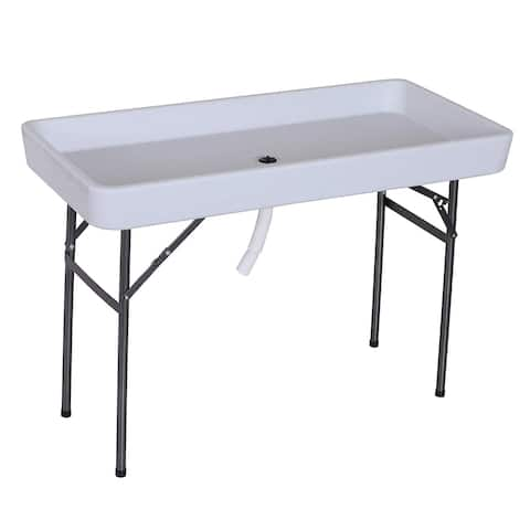 "Outsunny 48"" Folding Fish Fillet Cleaning Table with Sink - White - N/A"