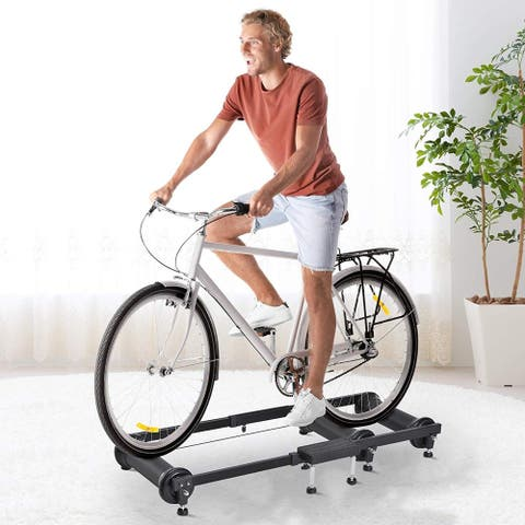 Soozier Adjustable Indoor Fitness Cycling Parabolic Roller Bike Trainer
