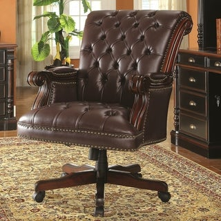 Executive Traditional Design Plush Rolled Back Button Tufted  Office Chair with Nailhead Trim