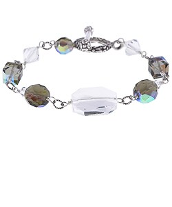 Lola's Jewelry Special Occasion Crystal Sterling Toggle Bracelet
