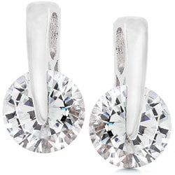 Kate Bissett Silvertone Short Drop Clear CZ Earrings