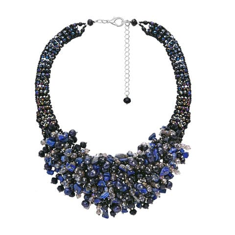 Handmade Midnight Chic Black and Blue Pearls Stones and Beads Statement Necklace (Thailand)