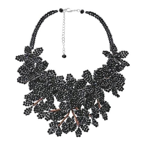 Handmade Elegantly Unique Linked Crystal Bead Floral Cluster Statement Necklace (Thailand)