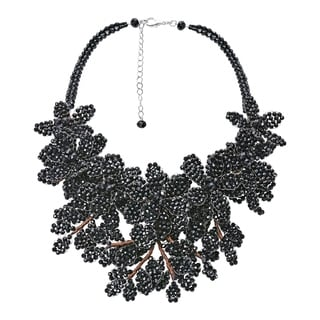 Handmade Elegantly Unique Linked Crystal Bead Floral Cluster Statement Necklace Thailand