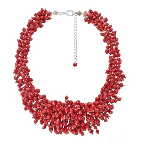 Handmade Sophisticated and Colorful Cascading Crystals Collar Necklace (Thailand)