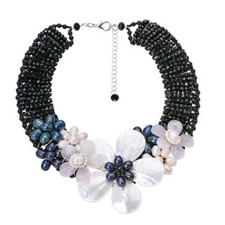 Handmade Midnight Garden Black Pearls Shells and Crystal Beads Floral Necklace (Thailand)