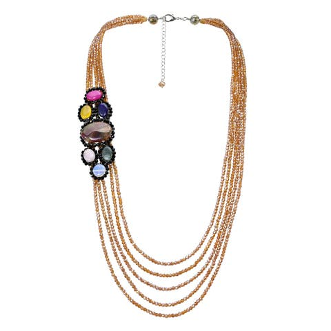 Handmade Vibrantly Colorful Quartz Stones on Gold-Colored Crystal Beaded Necklace (Thailand)