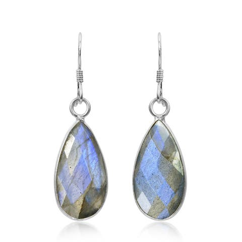 Handmade Blue Facets Labrodorite Teardrop Sterling Silver Dangle Earrings (Thailand)