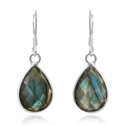7179472b8 Handmade Exquisite Labradorite Stone Faceted Teardrop on Sterling Silver Dangle  Earrings (Thailand)