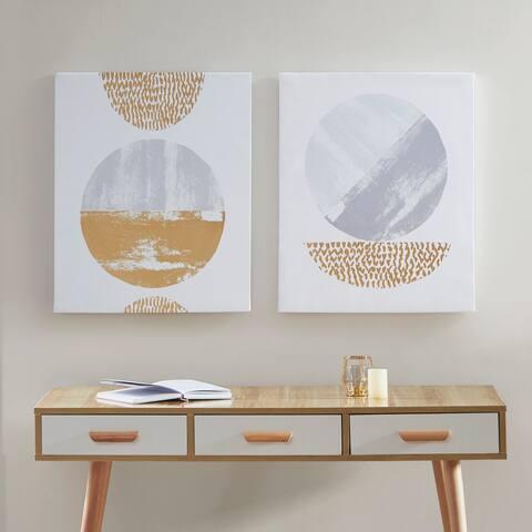 Urban Habitat Metallic Moon Grey/ Gold Gold Foil Geometric 2 Piece Canvas Set Hand Embellished