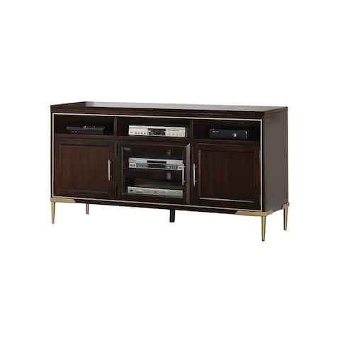 Spacious Wooden TV Stand with Metal Tapered Legs, Brown and Gold