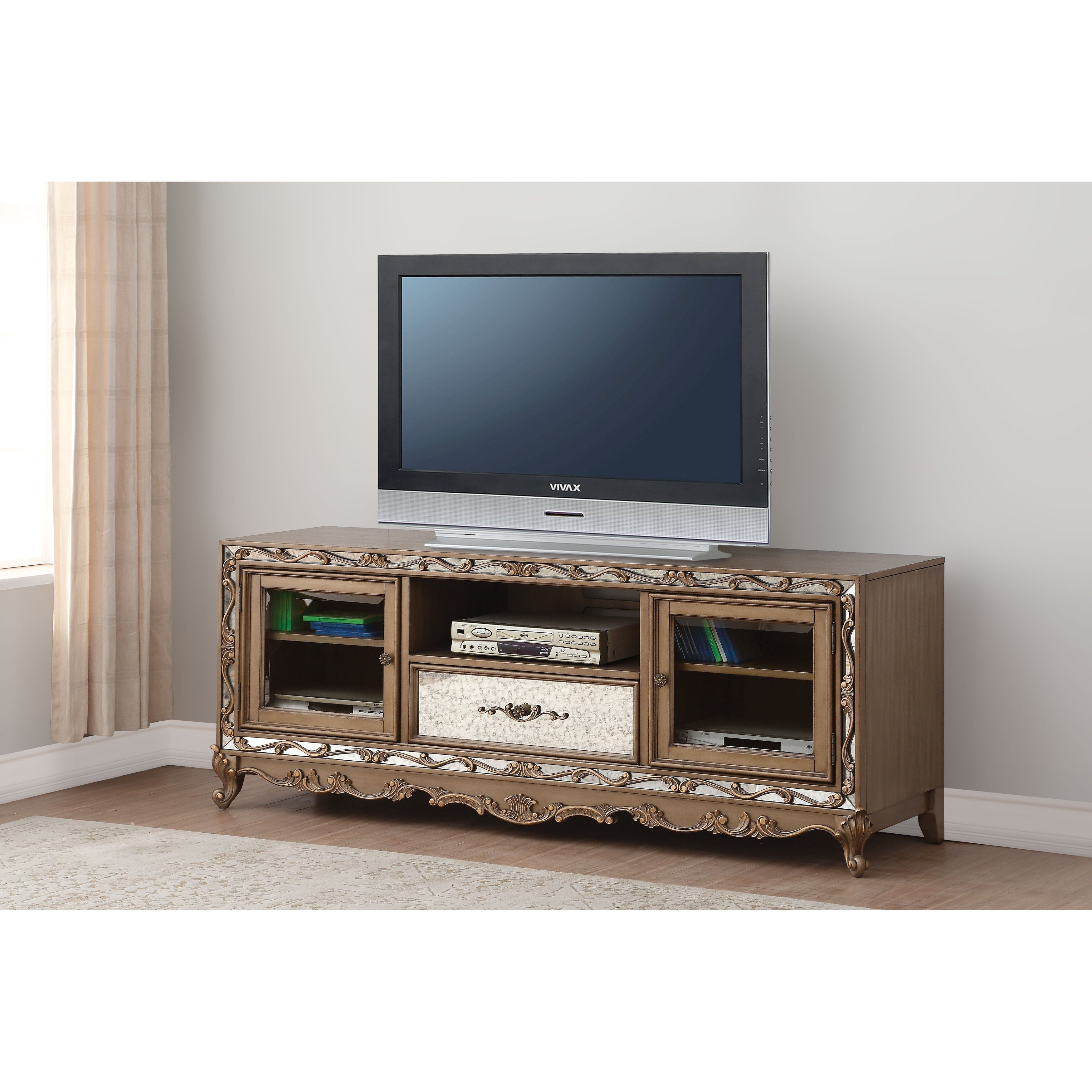 Tv Stand With Gl Side Door Cabinets