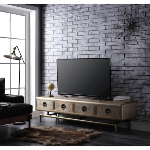 Four Drawers Wooden TV Stand with Metal Base and Aluminium Patchwork, Gold