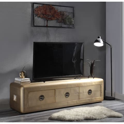 Wooden TV Stand with Aluminium Patchwork and Three Spacious Drawers, Gold