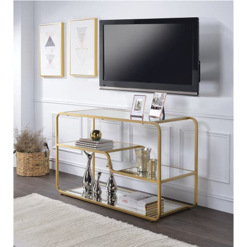 Modern Metal Framed TV Stand with Mirrored Open Compartments, Gold and Clear