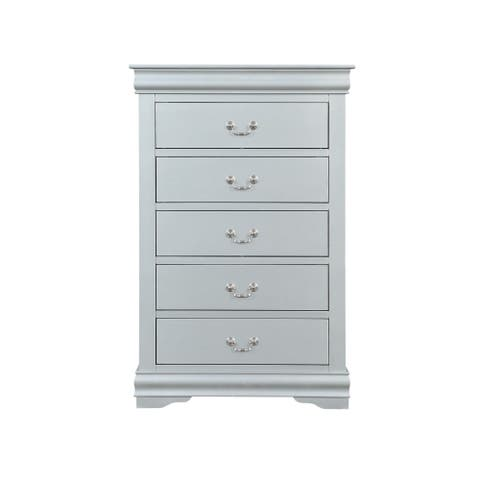 Spacious Five Drawer Wooden Chest with Bracket Base, Gray
