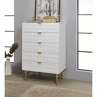 Five Drawers Wooden Chest with Textured Front Panel and Tapered Legs, White and Gold