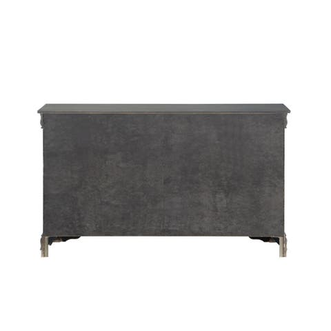 Six Drawers Wooden Dresser with Metal Handles and Bracket Base, Dark Gray